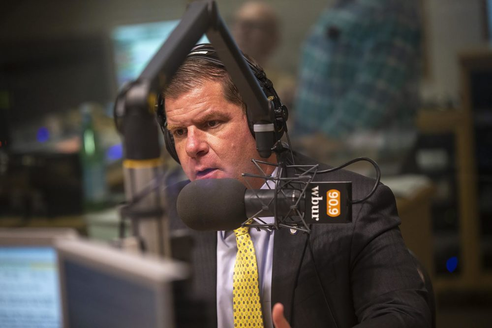 Boston Mayor Marty Walsh in the WBUR studio in May 2019 (Jesse Costa/WBUR)