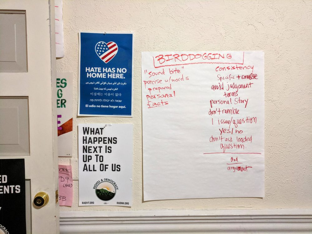 A list of bird-dogging strategies used to question candidates is shown. (Jason Moon/NHPR)