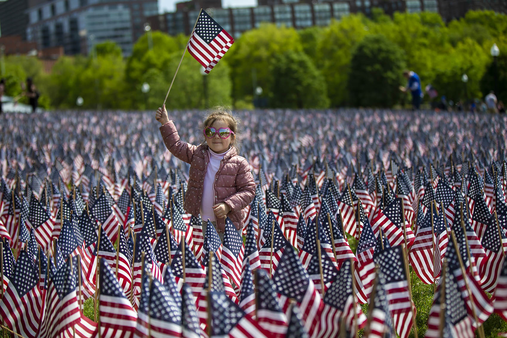 Three-and-a-half-year-old Veronica Ianivska holds up an American flag as her mother takes a picture of her in the sea of flags in Boston Common during the Massachusetts Military Heroes flag planting event Wednesday. (Jesse Costa/WBUR)