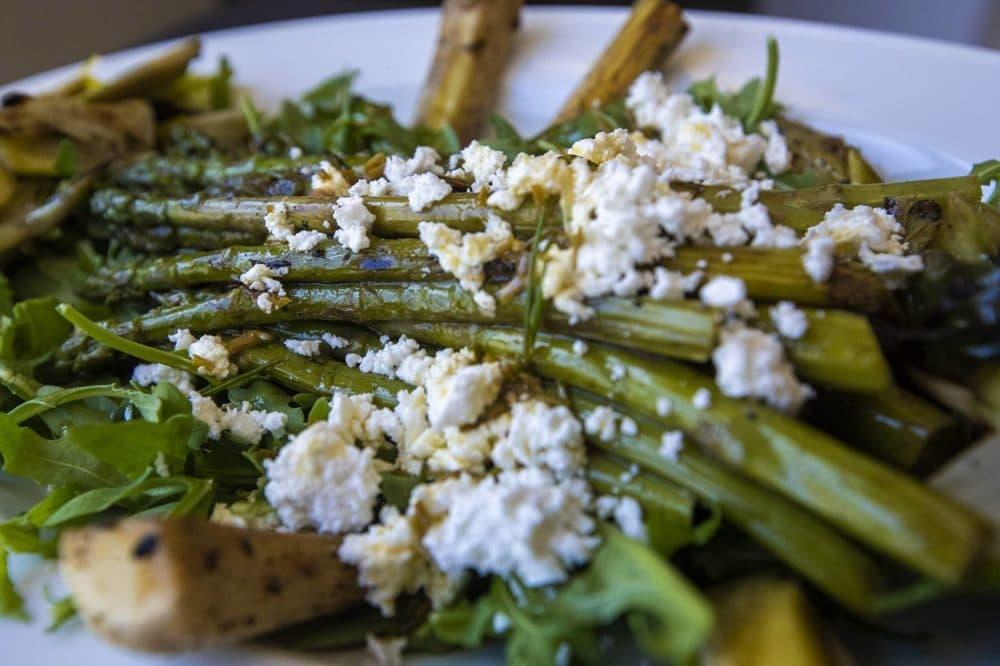 Grilled asparagus and leek salad with feta and lemon-chive vinaigrette. (Jesse Costa/WBUR)