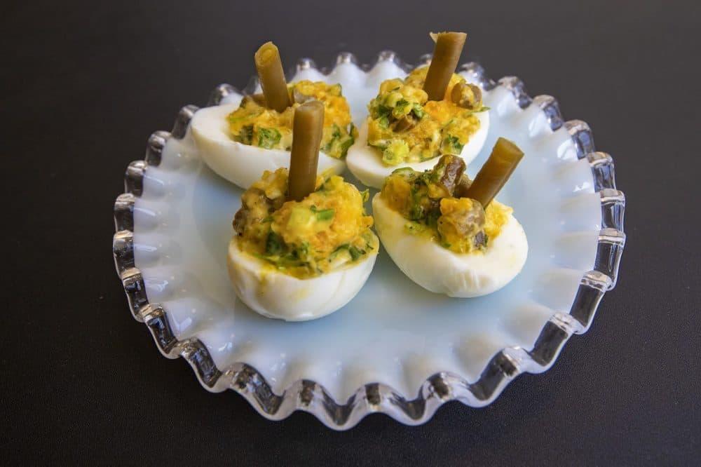 Dilly bean deviled eggs. (Jesse Costa/WBUR)