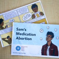 A cartoon from the  Reproductive Health Access Project about medication abortion (Jesse Costa/WBUR)