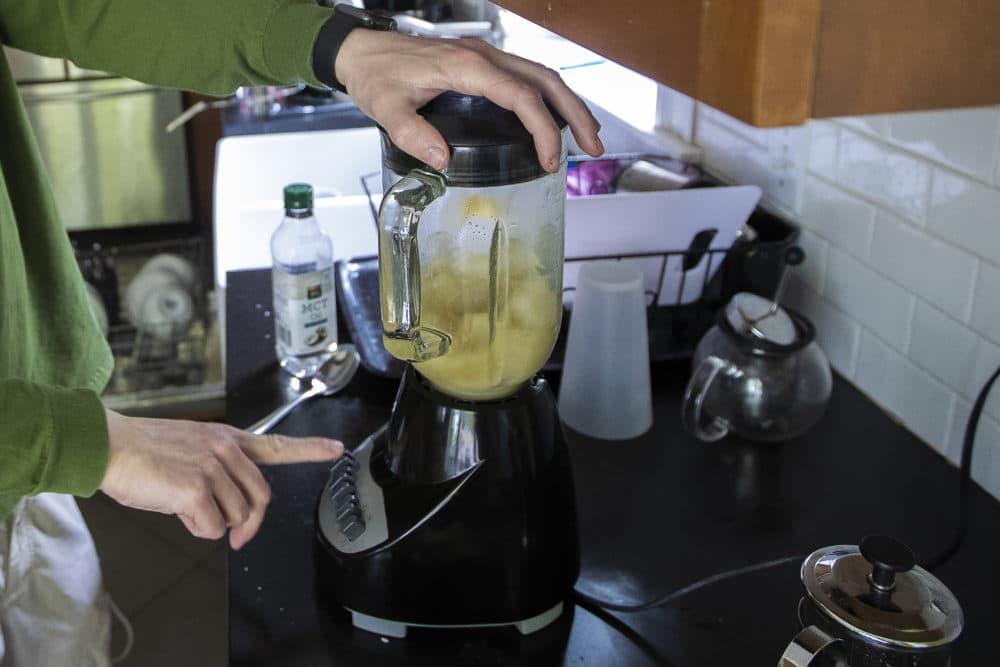 Dan prepares Guayakí Yerba Mate tea. (Jesse Costa/WBUR)
