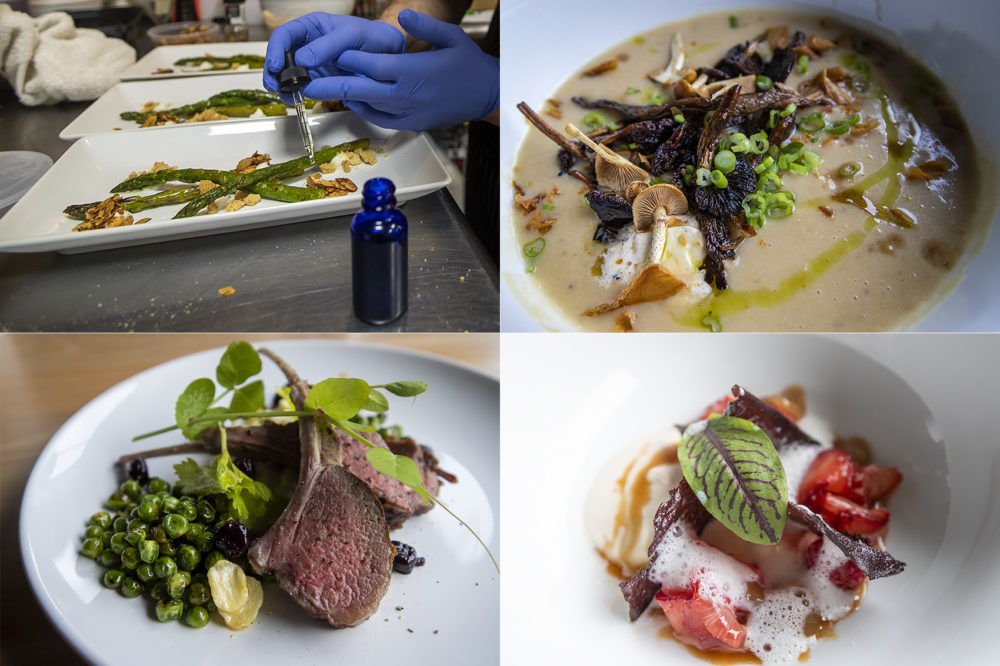 Clockwise, from left: Asparagus, caramelized onion potato soup with mushrooms, lamb chops and mixed berries with caramel drizzle were served at a cannabis-infused dinner party, the creations of chef David Ferragamo. (Jesse Costa/WBUR)