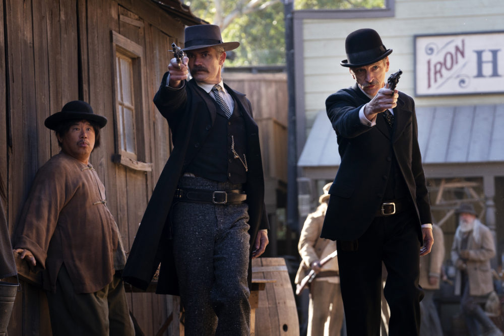 "Timothy Olyphant as Sheriff Seth Bullock and John Hawkes as Sol Star in ""Deadwood: The Movie."" (Courtesy Warrick Page/HBO)"