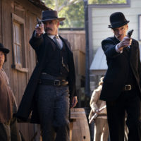 """Timothy Olyphant as Sheriff Seth Bullock and John Hawkes as Sol Star in """"Deadwood: The Movie."""" (Courtesy Warrick Page/HBO)"""