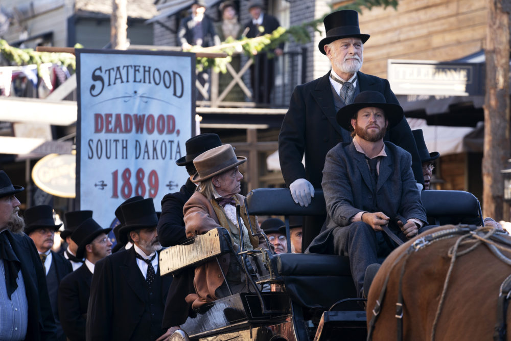 """Gerald McRaney (pictured standing in the horse carriage) as George Hearst in """"Deadwood: The Movie."""" (Courtesy Warrick Page/HBO)"""