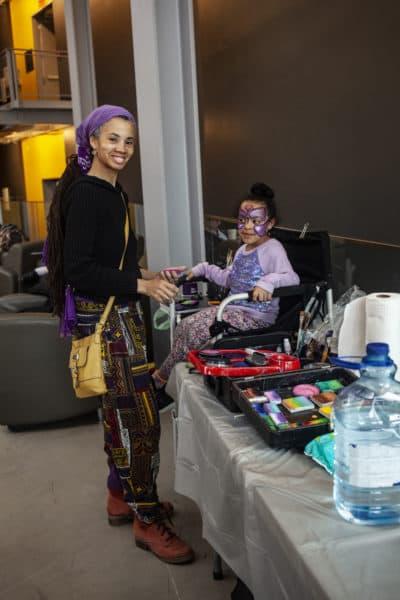 Radiant Jasmin and Myla Silberg take part in Sunday's event. (OJ Slaughter for WBUR)
