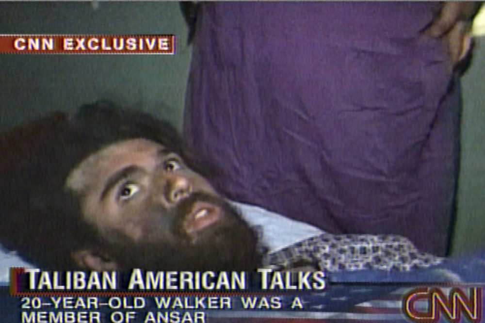 In this image from television broadcast Wednesday, Dec. 19, 2001, American Taliban fighter John Walker Lindh is seen during an interview soon after his capture. According to CNN, the interview took place Dec. 2, 2001. (CNN/AP)