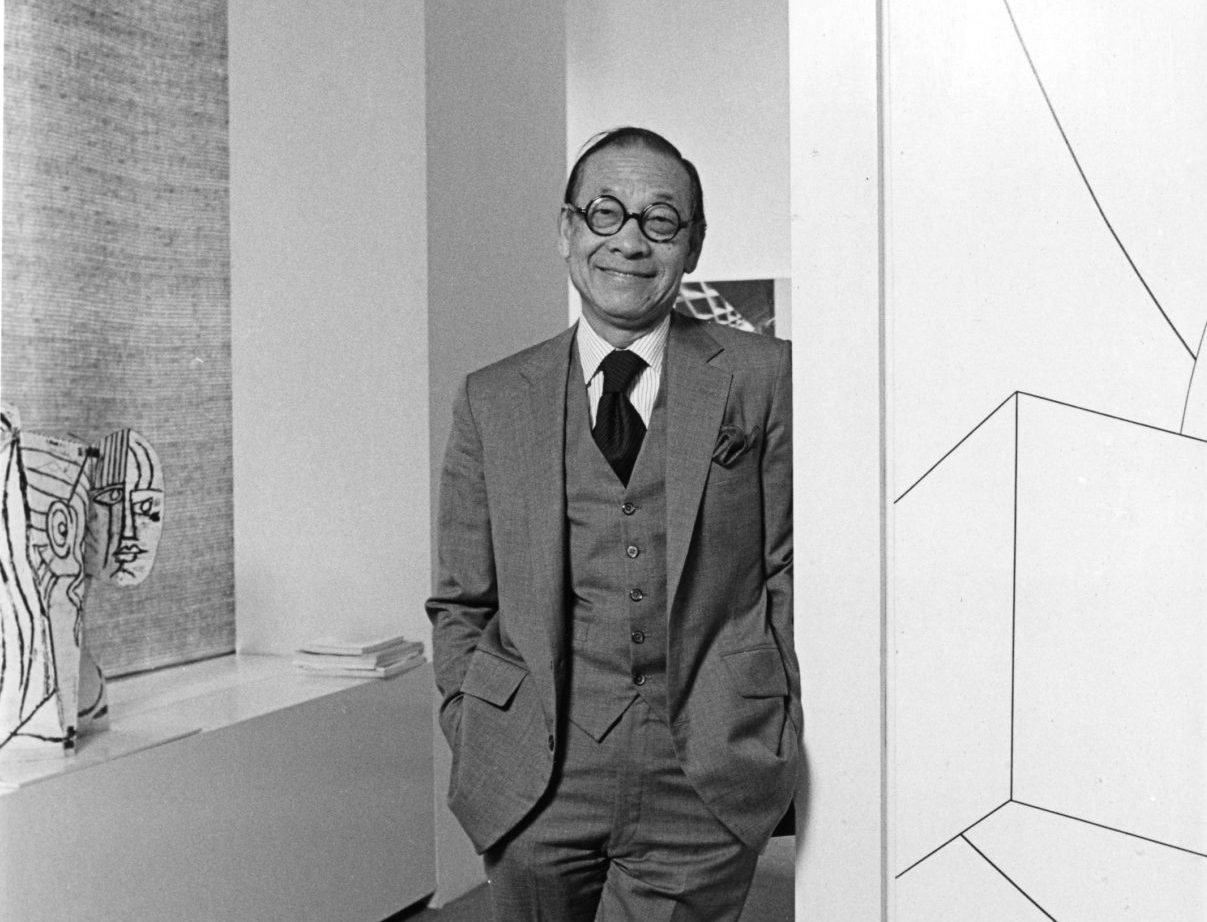 Chinese-American architect I.M. Pei poses in his office in New York, October 28, 1981. Pei died earlier this week at age 102. (M. Reichenthal/AP)