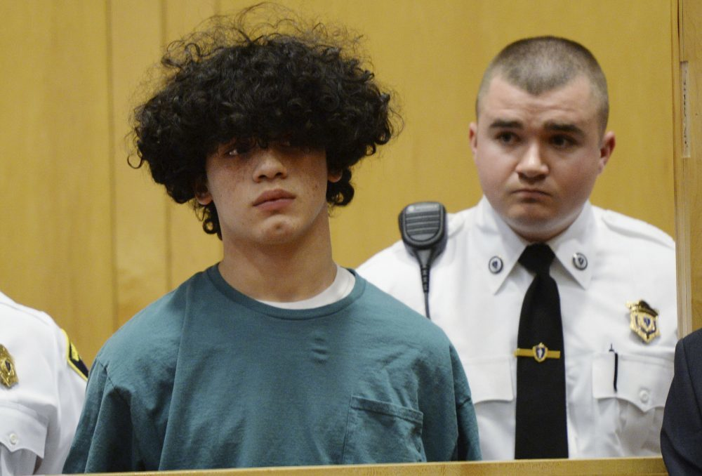 Mathew Borges, then 15, during his 2016 arraignment in Lawrence District Court (Paul Bilodeau/The Eagle-Tribune via AP, Pool)