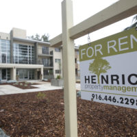 """This Jan. 8, 2017, file photo shows a """"For Rent"""" sign outside an apartment building in Sacramento, Calif. (Rich Pedroncelli, File/AP)"""