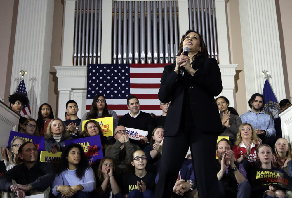 Democratic presidential candidate Sen. Kamala Harris, D-Calif., speaks at a campaign event in Portsmouth, N.H., Monday, Feb. 18, 2019. (AP Photo/Elise Amendola)