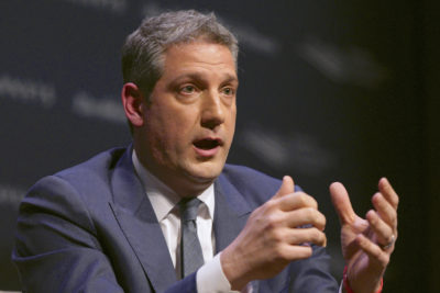 Rep. Tim Ryan, D-Ohio, speaks at the Heartland Forum held on the campus of Buena Vista University in Storm Lake, Iowa on March 30, 2019. (Nati Harnik/AP)