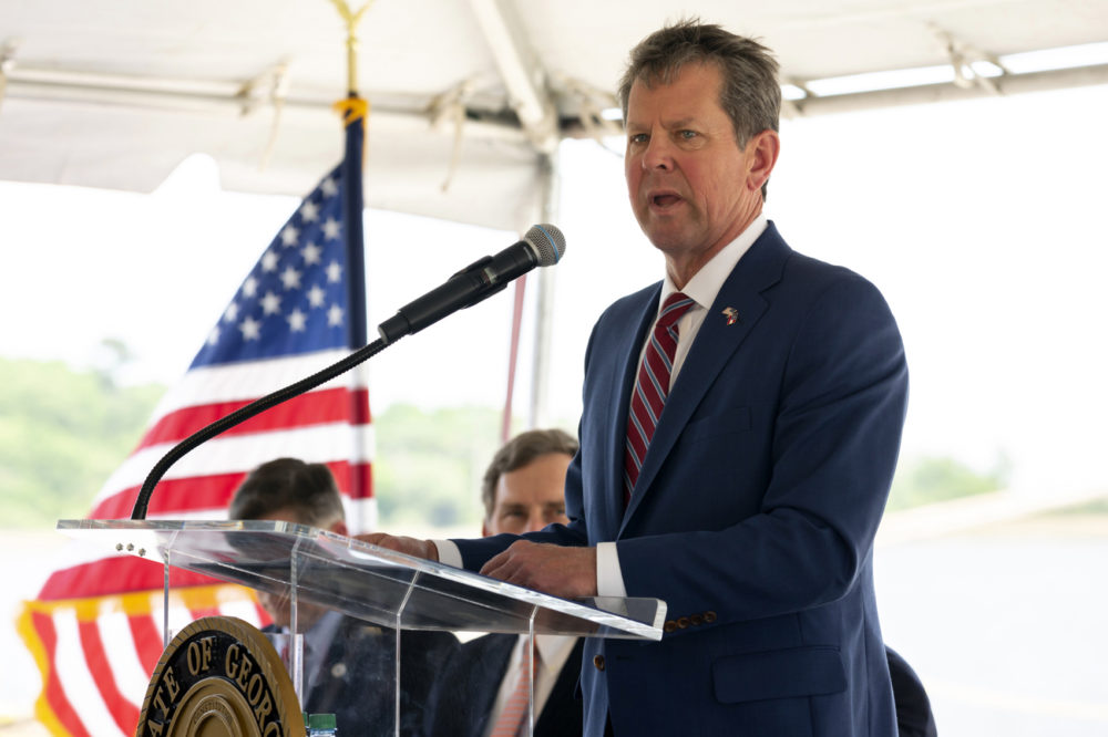 In this photo provided by the Georgia Port Authority, Georgia Governor Brian Kemp. (Stephen Morton/Georgia Ports Authority via AP)