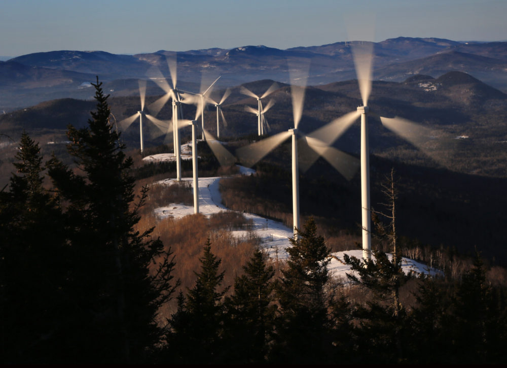 In this Tuesday, March 19, 2019 photo, the blades of wind turbines catch the breeze at the Saddleback Ridge wind farm in Carthage, Maine. (Robert F. Bukaty/AP)
