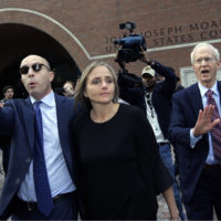 District Court Judge Shelley M. Richmond Joseph, center, departs federal court, Thursday, April 25, 2019, in Boston after facing obstruction of justice charges. (Steven Senne/AP)
