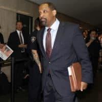 Attorney Ronald Sullivan, formerly for Harvey Weinstein, enters State Supreme Court in New York, Friday, April 26, 2019. (Richard Drew/AP)