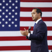 Former Housing and Urban Development Secretary and Democratic presidential candidate Julian Castro speaks at a Service Employees International Union forum on labor issues, Saturday, April 27, 2019, in Las Vegas. (John Locher/AP)