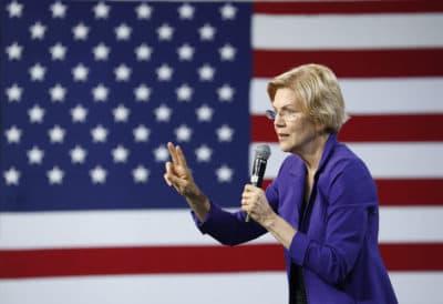 Sen. Elizabeth Warren, D-Mass., speaks at a Service Employees International Union forum on labor issues, Saturday, April 27, 2019, in Las Vegas. (John Locher/AP)
