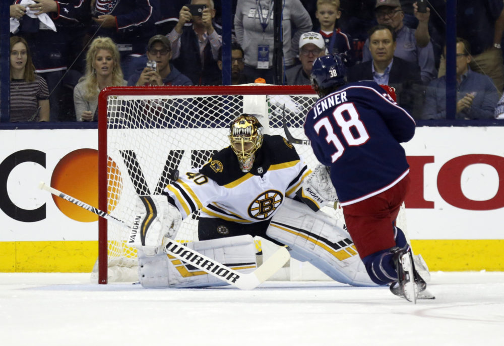 Boston Bruins goalie Tuukka Rask stops a penalty shot by Columbus Blue Jackets forward Boone Jenner during Game 4 of their second-round series. (Paul Vernon/AP)