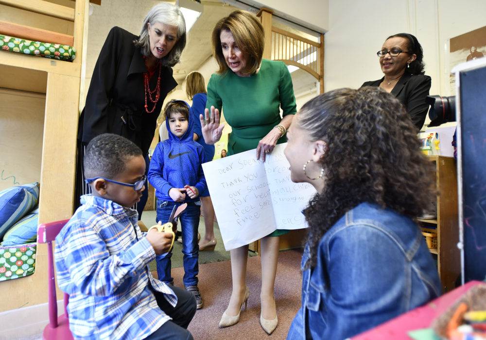 Rep. Katherine Clark, D-Mass., and Speaker of the House Nancy Pelosi speak with Nick Palermo, 4, in a bio-engineering class during a tour of the Eliot-Pearson Children's School, Friday, May 3, 2019, at Tufts University in Medford, Massachusetts. (Josh Reynolds/AP)