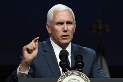 Vice President Mike Pence speaks at the SATELLITE Conference and Exhibition in Washington, Monday, May 6, 2019. (AP Photo/Susan Walsh)