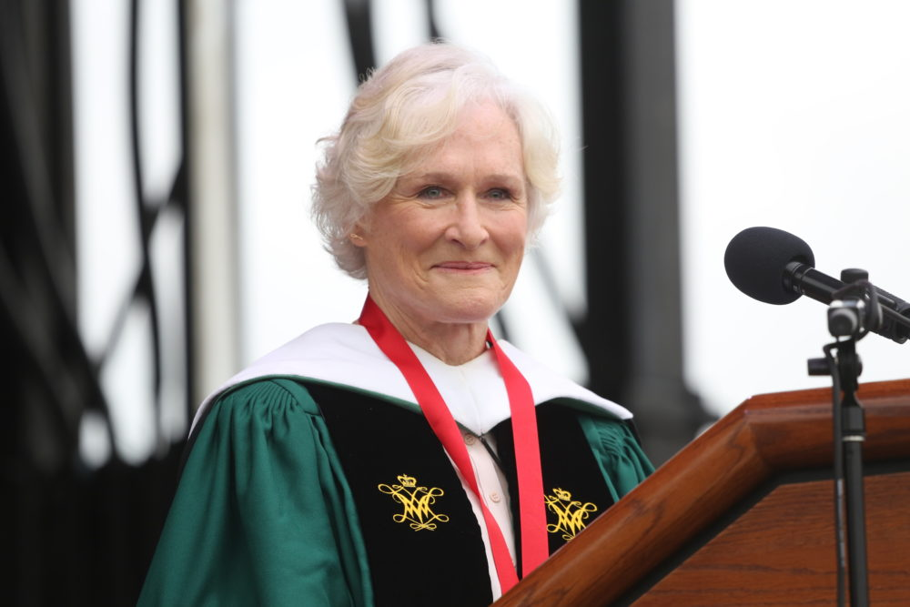 In this photo provided by William & Mary university, Glenn Close speaks during the school's commencement at Zable Stadium in Williamsburg, Va., on Saturday, May 11, 2019. (Stephen Salpukas/W&M News via AP)