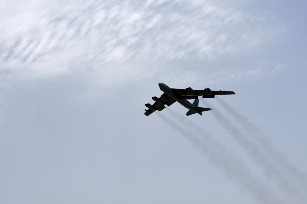 U.S. Air Force a U.S. Air Force B-52H Stratofortress aircraft assigned to the 20th Expeditionary Bomb Squadron takes off from Al Udeid Air Base Qatar