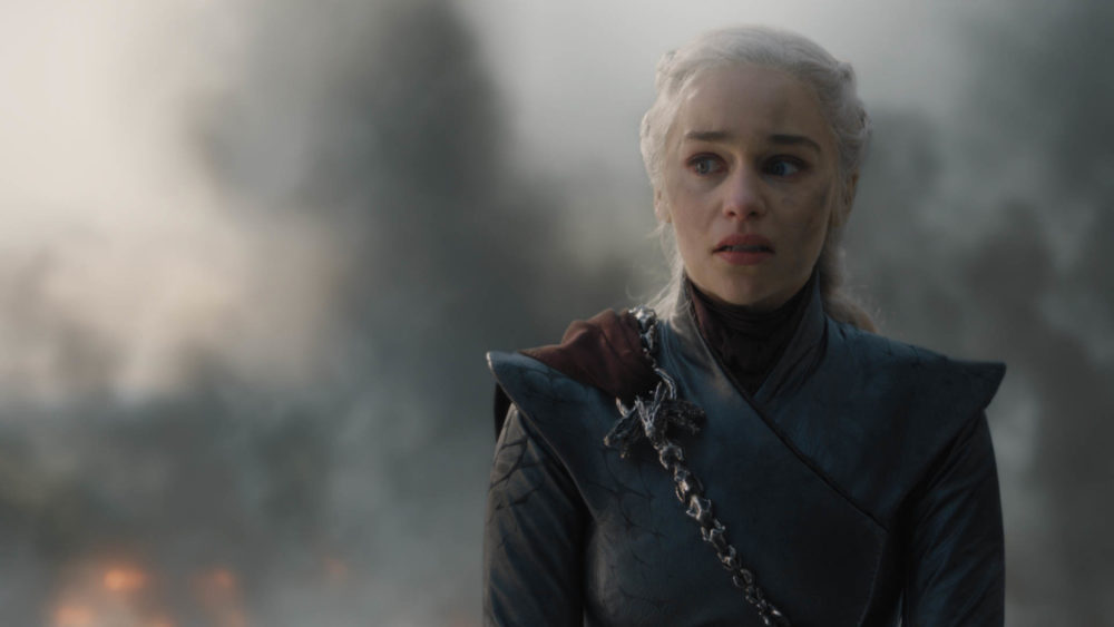 "This image released by HBO shows Emilia Clarke in a scene from ""Game of Thrones,"" that aired Sunday, May 12, 2019. Daenerys has reduced King's Landing to ashes in a dramatic, heart-stopping episode of Game of Thrones, but don't count the city out. (HBO via AP)"