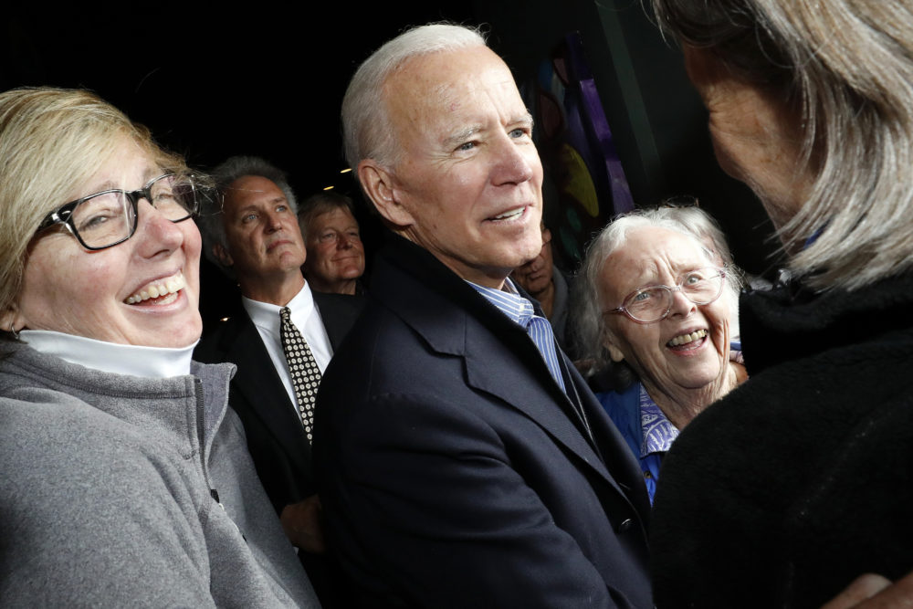 Former Vice President and Democratic presidential candidate Joe Biden greets supporters during a campaign stop at the Community Oven restaurant in Hampton, N.H., Monday, May 13, 2019. (Michael Dwyer/AP)
