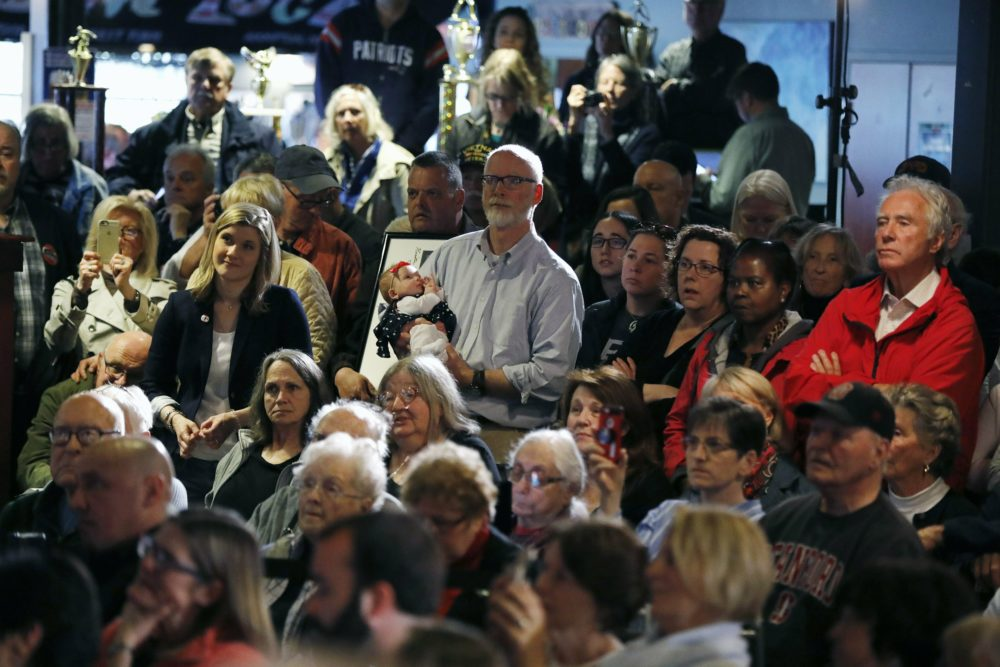 Supporters listen as former vice president and Democratic presidential candidate Joe Biden speaks during a campaign stop in Hampton, N.H., Monday, May 13, 2019. (Michael Dwyer/AP)