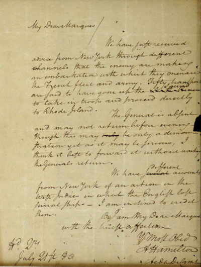 A 1780 letter from Alexander Hamilton that was stolen decades ago. (U.S. Attorney's Office via AP)