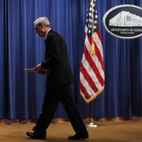 Special counsel Robert Mueller walks from the podium after speaking at the Department of Justice Wednesday, May 29, 2019, in Washington, about the Russia investigation. (Carolyn Kaster/AP)