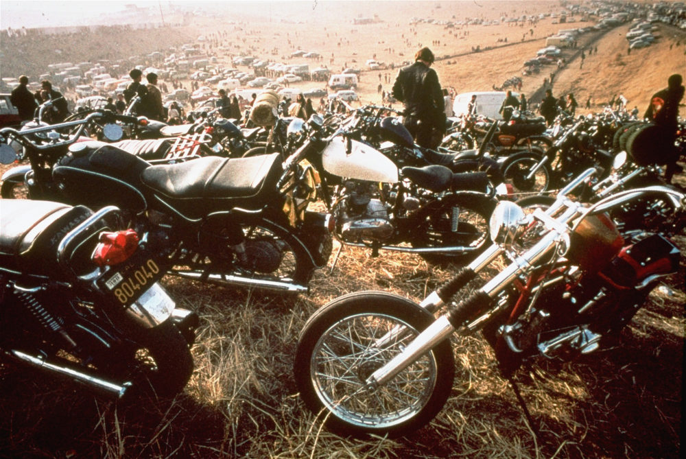 Motorcycles crowd the field at the Altamont Speedway in Livermore, California, on Dec. 8, 1969. The Hells Angels motorcycle club was hired as bouncers. (AP)