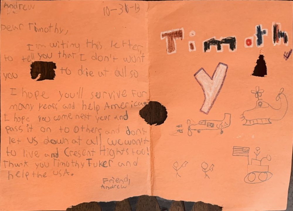 A letter from Andrew, a student at Crescent Heights Language Arts Social Justice Magnet, sent to Timothy Tucker. (Courtesy of Timothy Tucker)