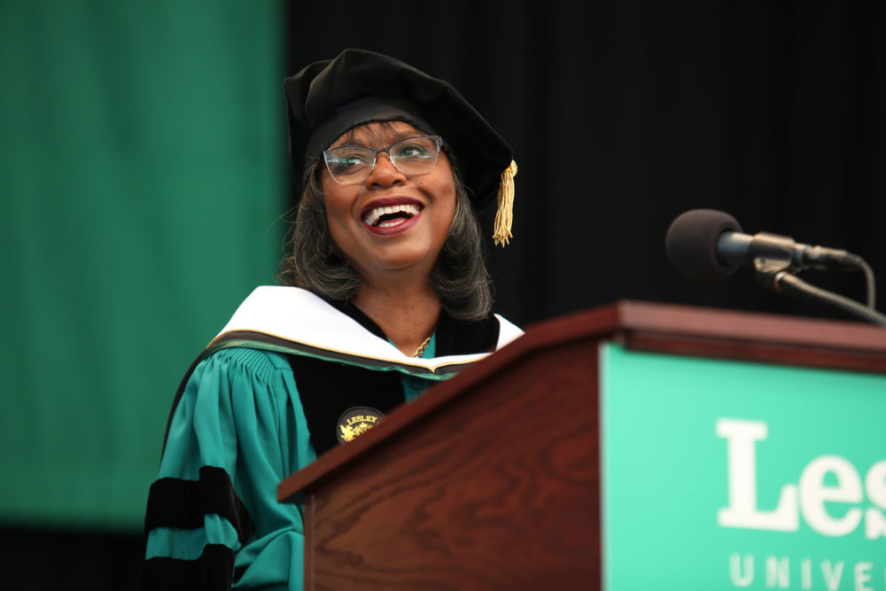 Anita Hill addresses the Lesley University Class of 2019, May 18, 2019 in Boston. (Lesley University / Mark Teiwes)