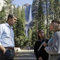 Democratic presidential candidate Beto O'Rourke, left, talks with Anne Kelly, center, director of the Sierra Nevada Research Stations and environmental advocate Leslie Martinez center, on April 29, 2019, in Yosemite National Park, Calif. (Marcio Jose Sanchez/AP)