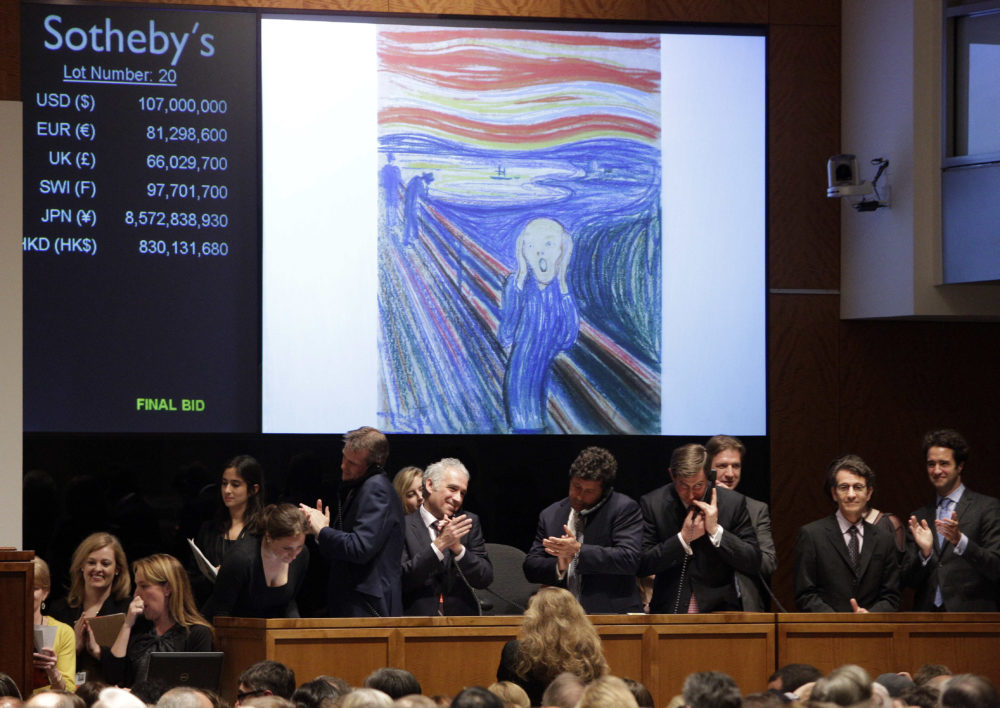 "Edvard Munch's ""The Scream"" is auctioned at Sotheby's May 2, 2012, in New York. The image is one of four versions created by the Norwegian expressionist painter, and the only one left in private hands. The hammer price was $107 million. (Frank Franklin II/AP)"