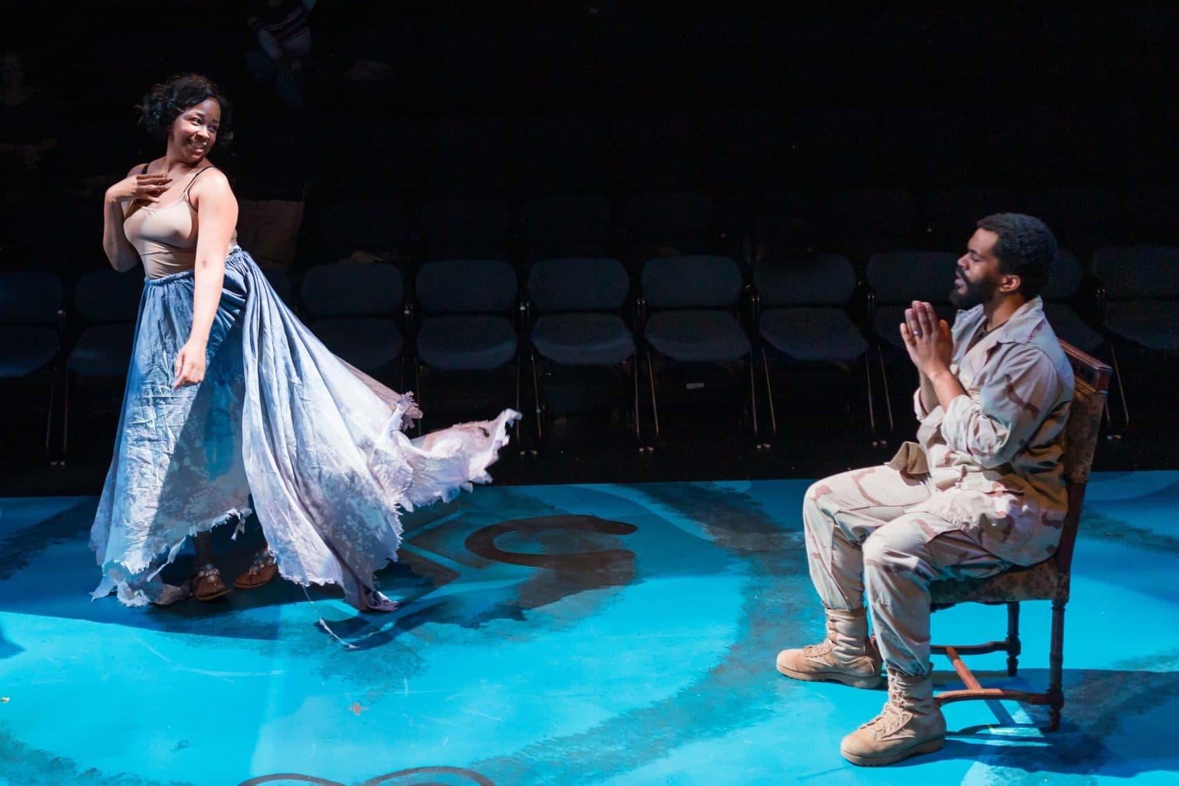 Ramona Lisa Alexander (Circe) and Brandon G. Green (Ulysses Lincoln). (Courtesy Maggie Hall)