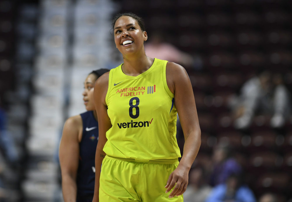 Former Dallas Wings star Liz Cambage was traded this week to the Las Vegas Aces. (Jessica Hill/AP)