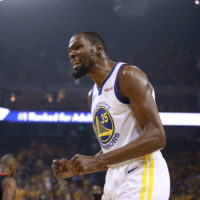 Kevin Durant of the Golden State Warriors during a game against the Houston Rockets in the 2019 NBA Western Conference Semifinals.  (Ezra Shaw/Getty Images)
