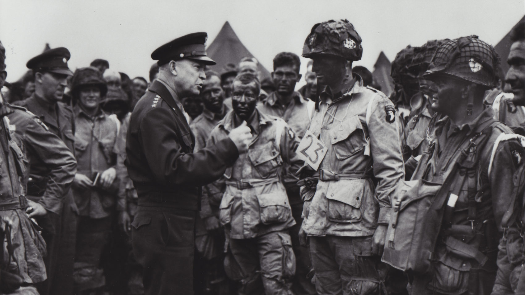 General Dwight D. Eisenhower addresses troops before the D-Day invasion of Normandy. (Courtesy of The National WWII Museum)