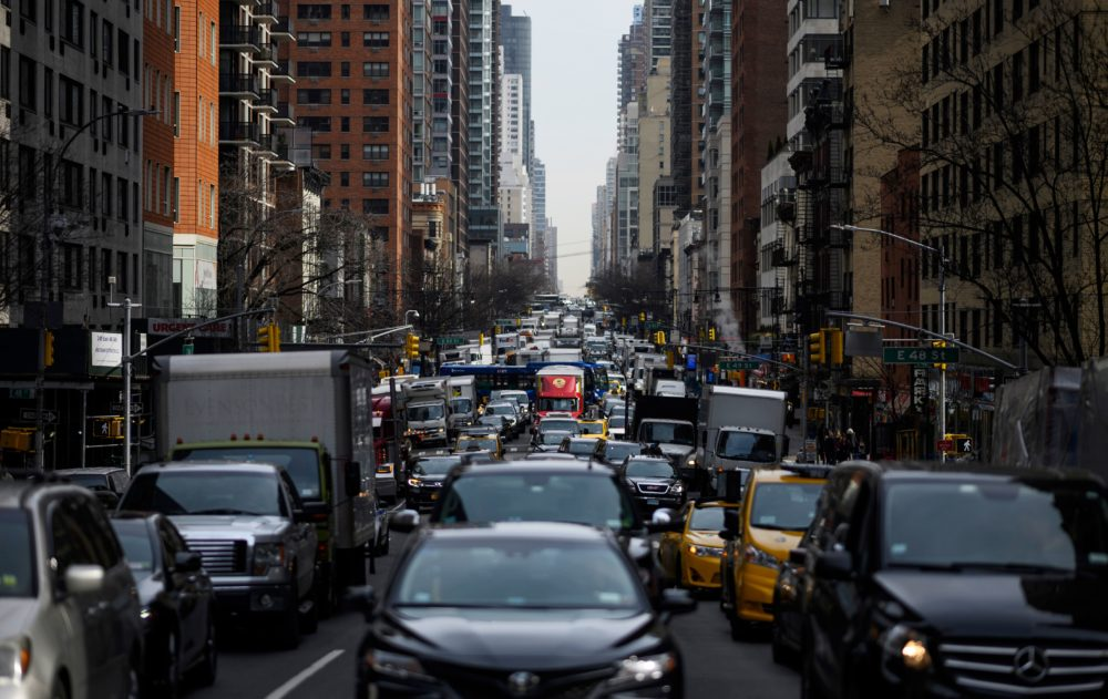 Traffic moves on 2nd Avenue in the morning hours on March 15, 2019 in New York City. (Johannes Eisele/AFP/Getty Images)