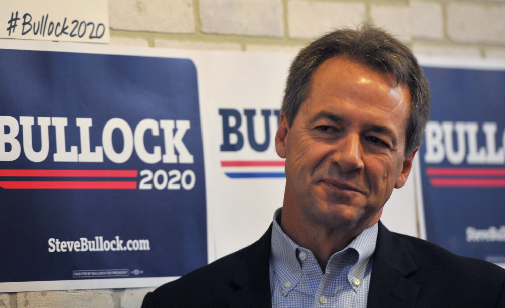 Democratic presidential candidate Montana Gov. Steve Bullock speaks during a campaign stop at a coffee shop on May 17, 2019 in Newton, Iowa. (Steve Pope/Getty Images)