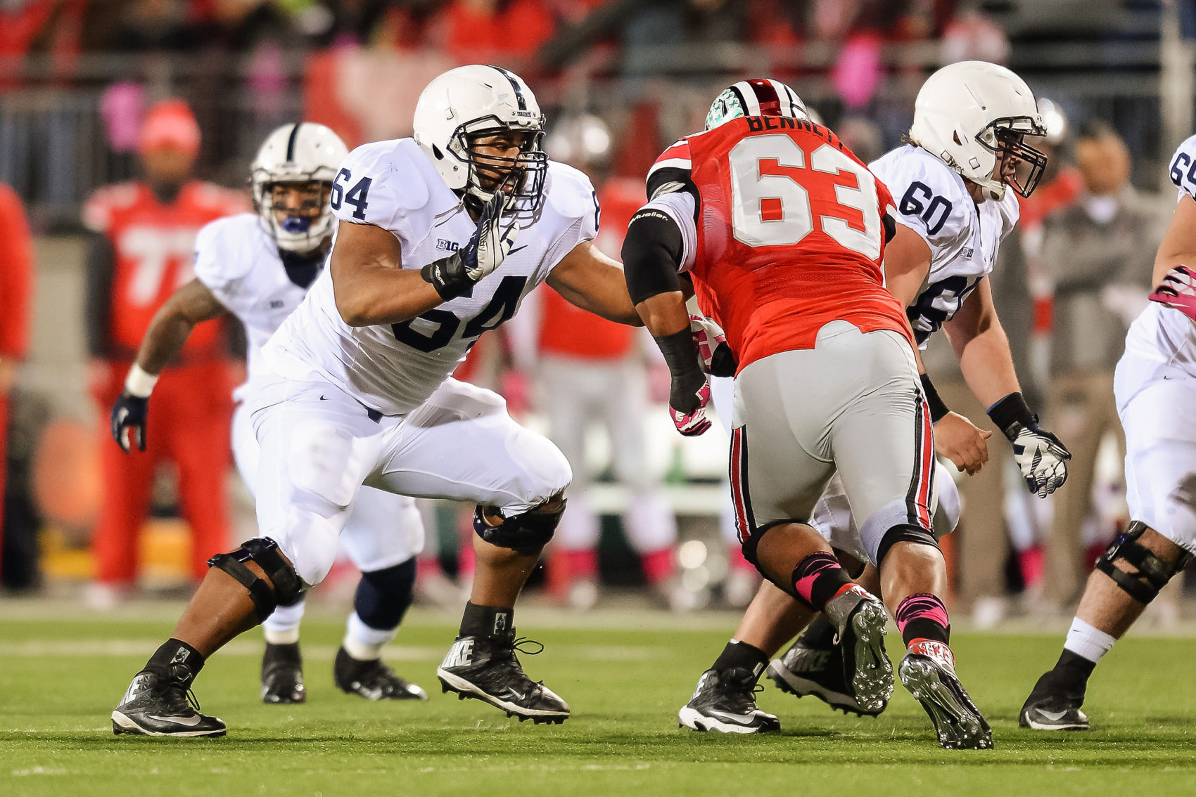 John Urschel (64) playing for Penn State in 2013. (Jamie Sabau/Getty Images)