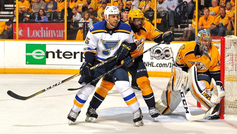 Ryan Reaves began his NHL career with the St. Louis Blues. (Frederick Breedon/Getty Images)