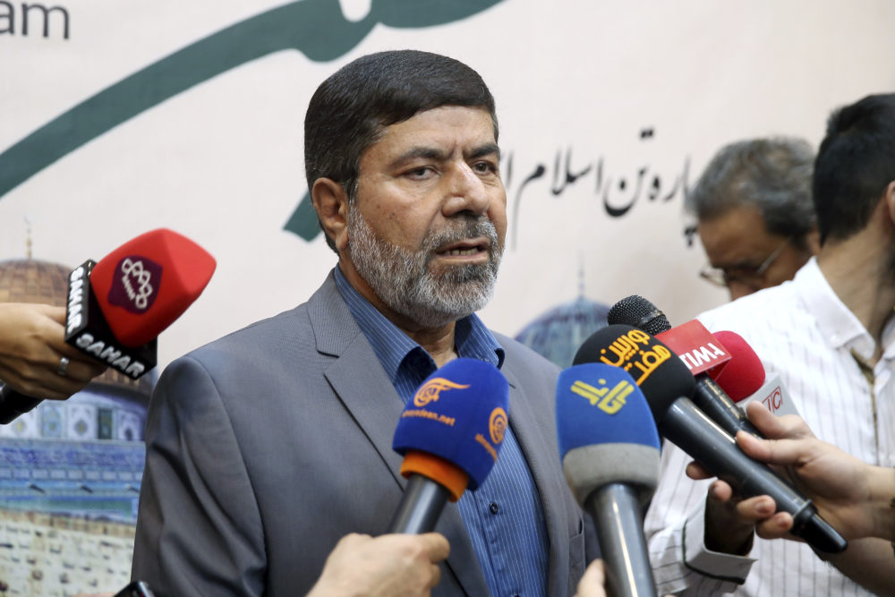 The spokesman of Iran's Revolutionary Guard, Gen. Ramazan Sharif, speaks to journalists at the conclusion of a press conference in Tehran, Iran, May 28, 2019. Iran's influential Revolutionary Guard said Tuesday it doesn't fear a possible war with the United States. (Ebrahim Noroozi/AP)