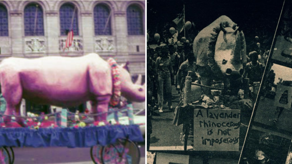 These pictures show the papier-mâché Lavender Rhino that marchers pushed along the route of Boston Pride in 1974.