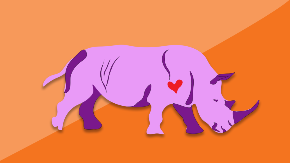 The Lavender Rhino became a symbol of gay resistance in the 1970s. (Illustration by Arielle Gray/WBUR)